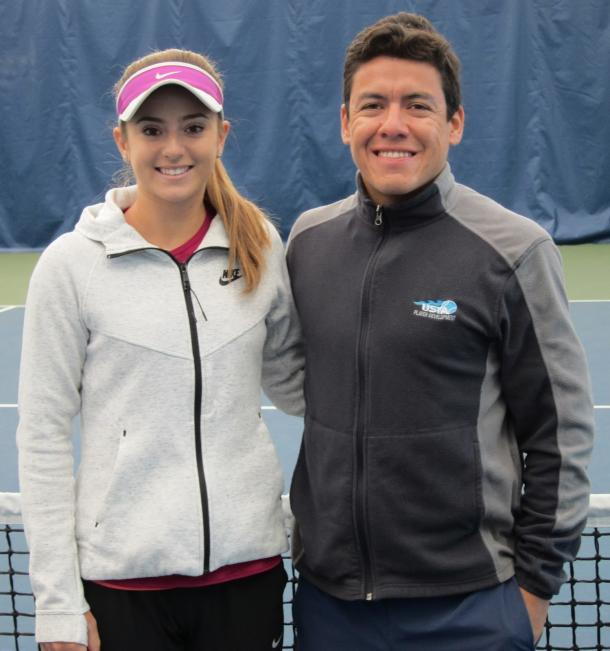 Catherine Bellis and Anibal Aranda pose at the Broadway Tennis Center during the 2016 off-season. | Photo: Paul Bauman