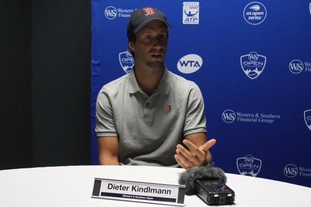 Elise Mertens' coach Dieter Kindlmann meets with the media on the first-ever WTA Coaches Media Day ahead of the 2018 Western & Southern Open. | Photo: Max Gao