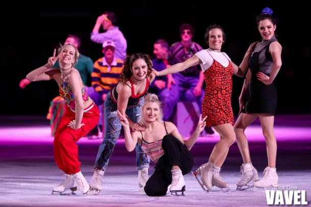 """""""Who run the world? Girls!"""" Medvedeva's female co-stars on this year's tour include Canadians Kaitlyn Weaver, Kaetlyn Osmond, Piper Gilles and Meagan Duhamel."""
