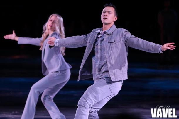 Patrick Chan skating during one of the group numbers at the Stars on Ice show in Toronto on May 3, 2019.