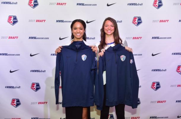 Darian Jenkins (left) and Ashley Hatch (right) at the 2017 NWSL College Draft | Source: North Carolina Courage