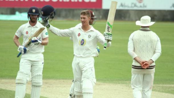 Keaton Jennings celebrates one of his milestones (image source: Alison Sutherland, Durham Cricket)