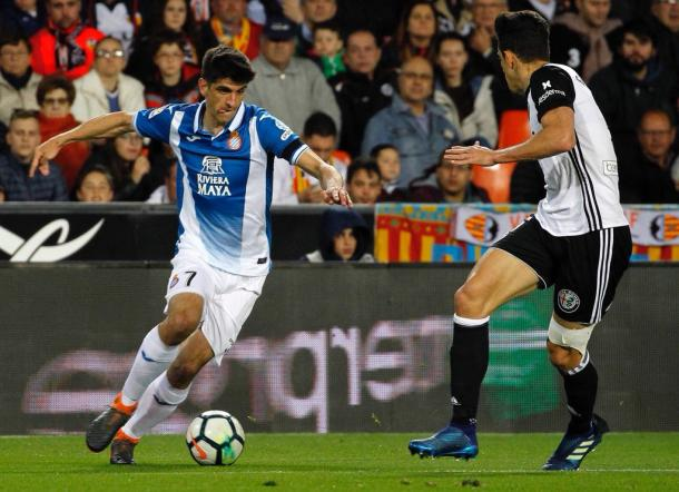 Gerard Moreno estuvo muy activo durante el encuentro. Foto: Web del Espanyol.