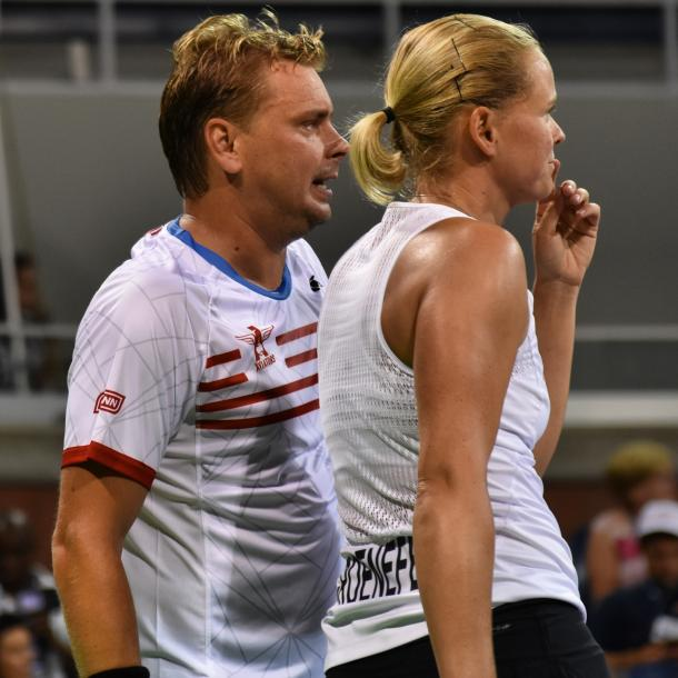 Matkowski (l.) and Groenefeld (r.) confer during their mixed doubles match/Photo: John Lupo/VAVEL UK