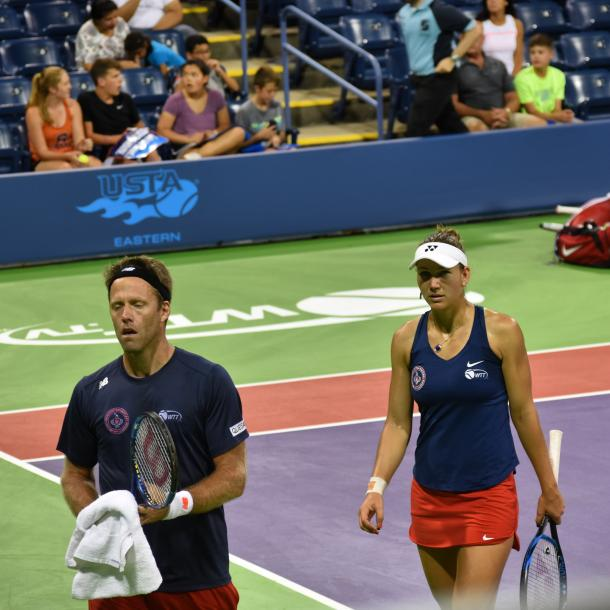 Lindstedt (l.) and Melichar (r.) in mixed doubles action for the Kastles/Photo: John Lupo/VAVEL UK