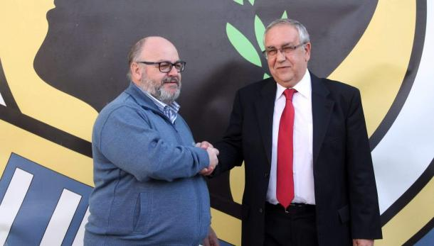 Juan Carlos Ramírez, accionista del club y Quique Hernández, presidente del club | Foto: Hércules CF