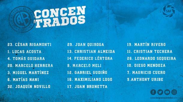 Los convocados por Diego Osella que ya viajaron a Tucumán. Foto: C.A. Belgrano