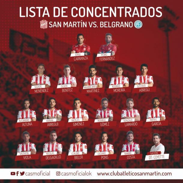 Los elegidos por Coyette. Sin Vitale ni Alberto Costa. Foto: Club Atlético San Martín.