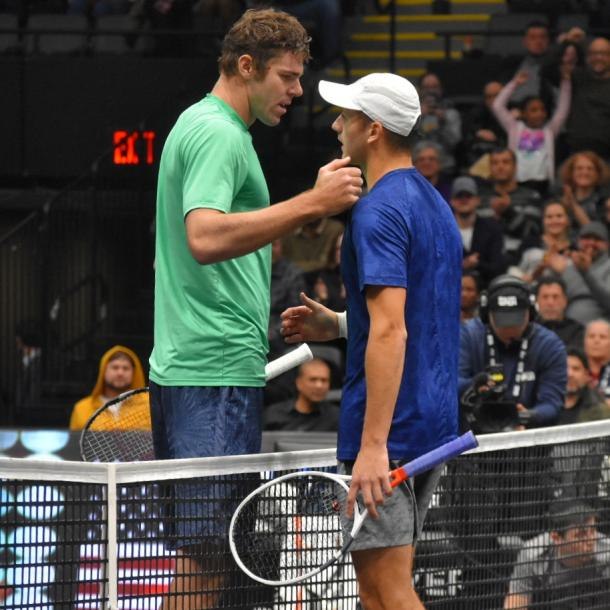 Opelka (l.) and Schnur (r.) meet after their epic final/Photo: John Lupo/VAVEL UK