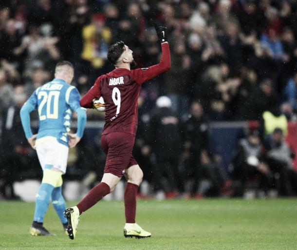 Dabbur foi o autor de um dos gols contra o Napoli (Créditos: RB Salzburg/Twitter)