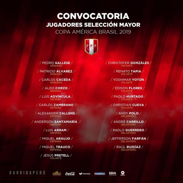 Convocados para la Copa América 2019.