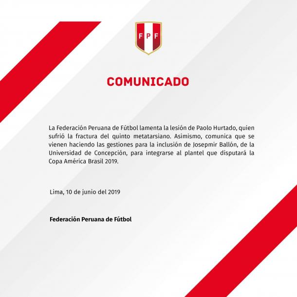Comunicado transmitido por la Federación Peruana de Fútbol donde avisa el cambio de Hurtado por Ballón.