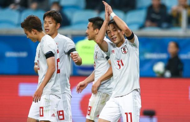 Koji Miyoshi marcou dois gols diante do Uruguai e foi o artilheiro nipônico da Copa América 2019 (Foto: Divulgação / JFA)