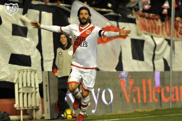 Chori Domínguez celebrando un gol con el Rayo | Foto: Rayo Vallecano S.A.D.