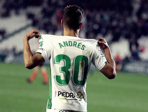 Andrés celebrando un gol con el Córdoba la temporada pasada. | Foto: twitter @martin11andres
