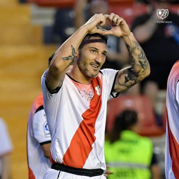 Piovaccari celebrando su gol conseguido en el Trofeo de Vallecas. | Foto: Rayo Vallecano S.A.D.