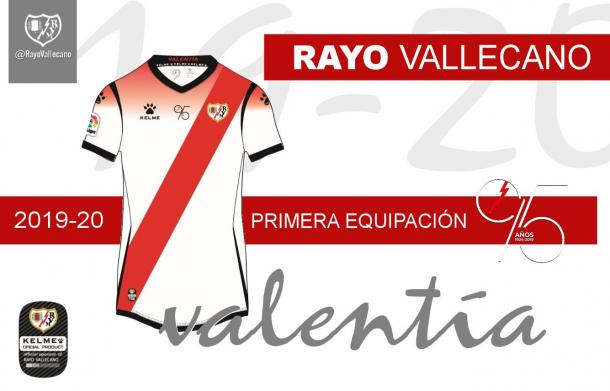 Diseño gráfico de la primera equipación del Rayo Vallecano 2019/20. | Foto: Rayo Vallecano S.A.D.