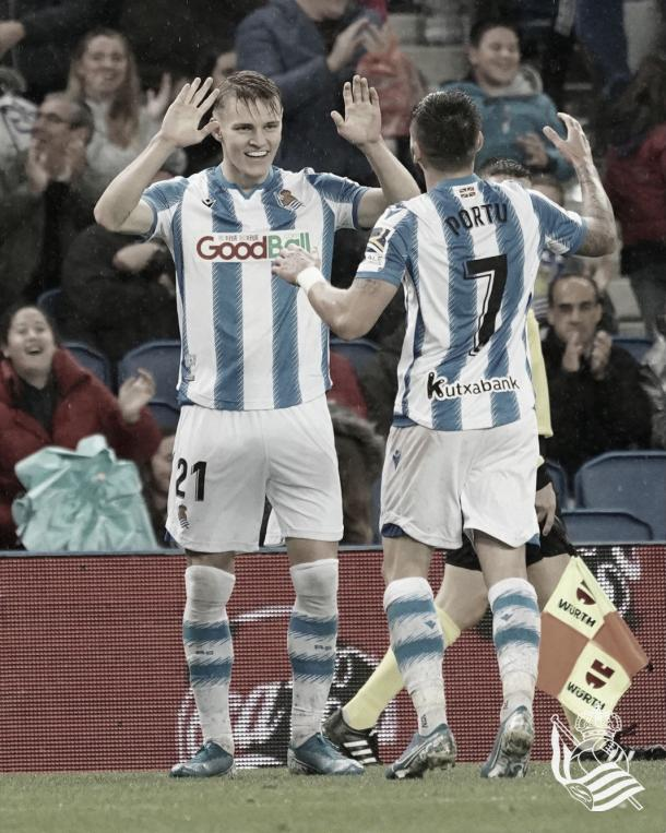 Odegaard y Portu celebran un gol / Foto: Real Sociedad