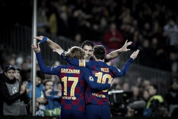 Messi, Griezmann y Suárez / Foto: FC Barcelona