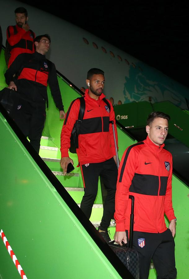 Los jugadores del Atlético de Madrid, a su llegada a Yeddah. Foto: Club Atlético de Madrid