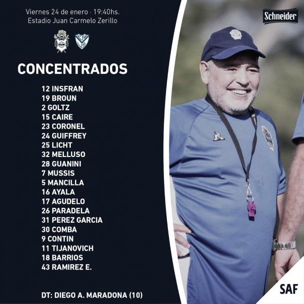 Esta es la nómina que dispuso Maradona para recibir mañana al fortin. Foto Club Gimnasia y Esgrima La Plata