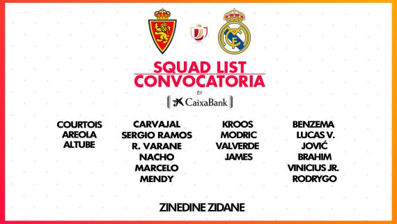 Convocatoria Real Madrid / Fuente: Twitter del Real Madrid