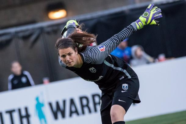 Even though the Riegn came away with a loss, goalkeeper Hayley Kopmeyer made numerous saves in the match | Source: Seattle Reign FC