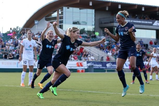 The Courage celebrating a goal as they face FC Kansas City | Source: NC Courage