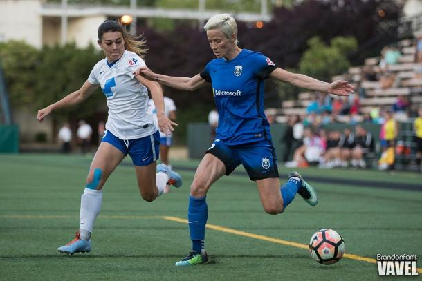 Megan Rapinoe (right) leads with 12 season goals in the league | Source: Brandon Farris - VAVEL USA