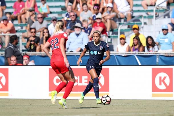 Forward Lynn Williams (left) has scored five goals this season | Source: NC Courage - Twitter