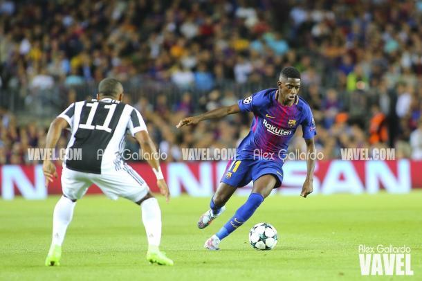 Dembélé se estrenó con el Barça en Champions   Foto: Àlex Gallardo - VAVEL