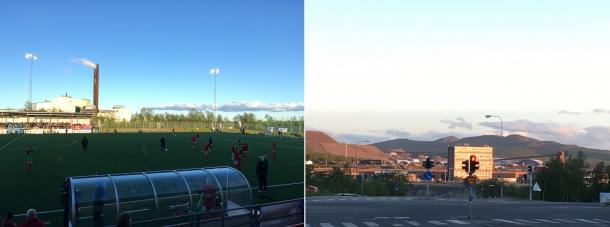 Left: Piteå players warm up (9.30pm). Right: the sun refuses to set a stone's throw from the stadium (1.30am). Credit: VAVEL UK/Sophie Lawson