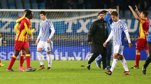 Los jugadores de la Real tras el encuentro copero. Foto: Real Sociedad