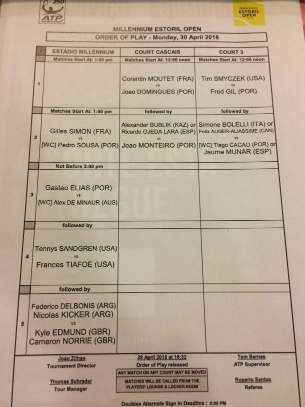 Order of play for Monday
