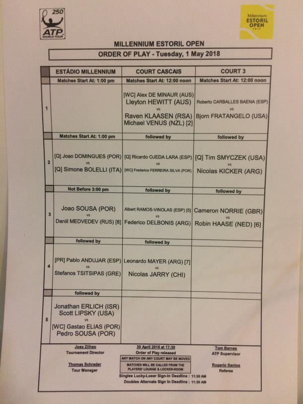 Tuesday order of play at the Millennium Estoril Open.