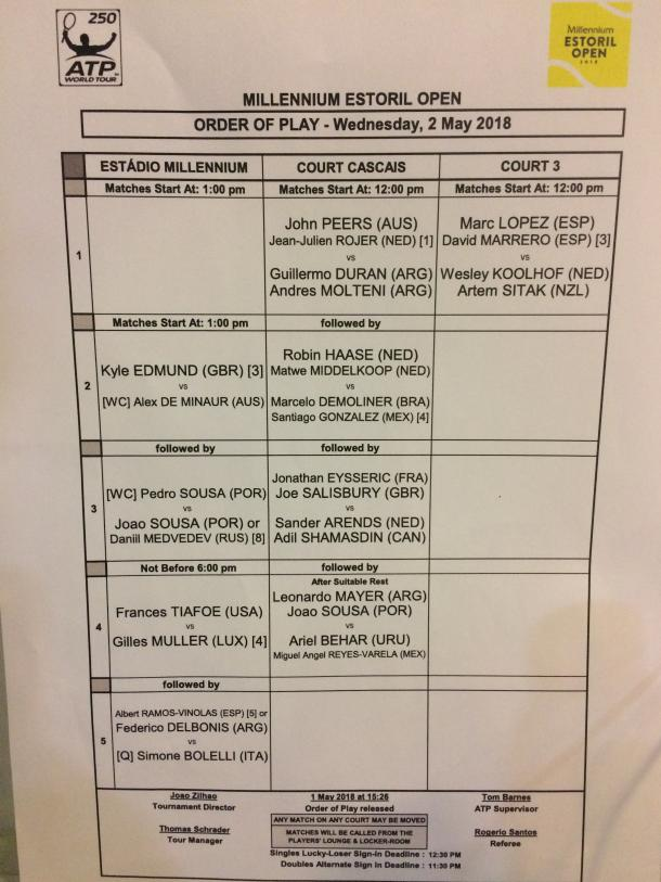Wednesday order of play at the Millennium Estoril Open.