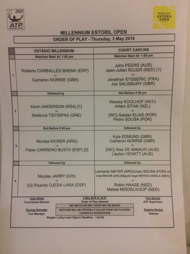 Thursday order of play at the Millennium Estoril Open.