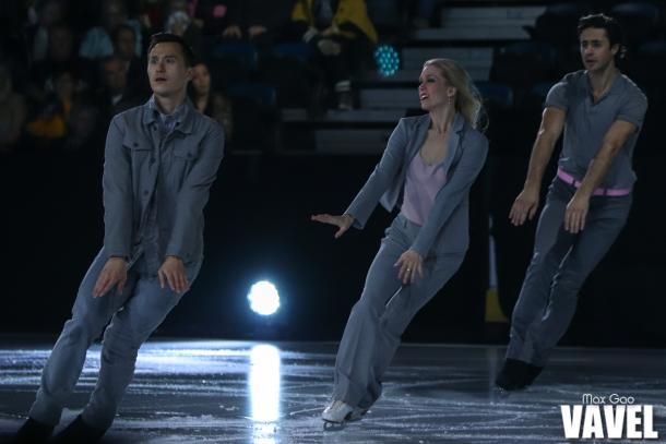Patrick Chan skating alongside old friends Kaitlyn Weaver and Andrew Poje at the Stars on Ice show in Hamilton on May 4, 2019. The three friends also joined compatriots Tessa Virtue and Scott Moir, who chose not to be part of this year's cast, last fall for The Thank You Canada Tour.