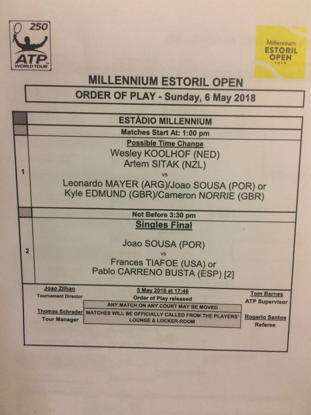 Sunday order of play at the Millennium Estoril Open.
