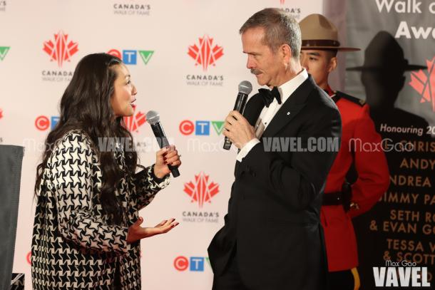 Chris Hadfield speaks with Lainey Lui before unveiling his star on Canada's Walk of Fame.