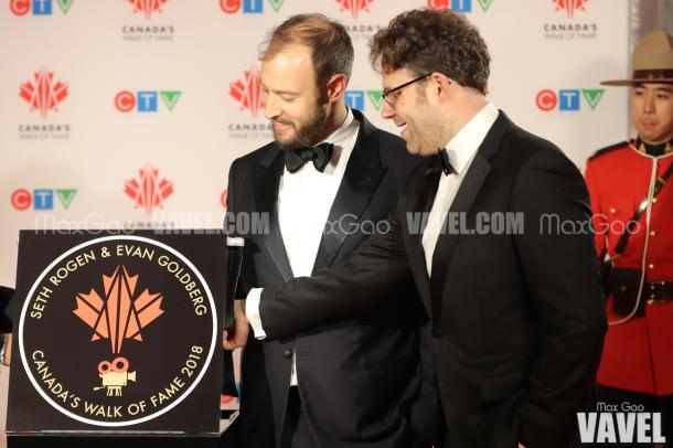 Friends Forever: Evan Goldberg and Seth Rogen unveil their joint star on Canada's Walk of Fame.