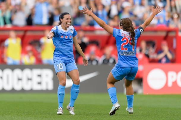 Colaprico celebrates with Vanessa DiBenardo after a Chicago goal. Photo: Chicago Red Stars Twitter @chicagoredstars