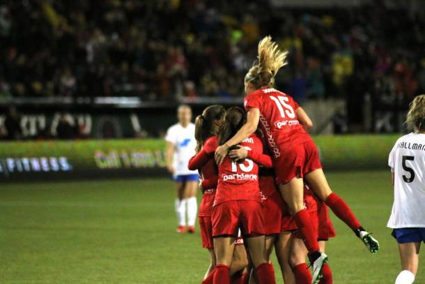 The Portland Thorns had many reasons to celebrate after their 4-1 victory against the Washington Spirit. Photo provided by Jeremiah Braeback.