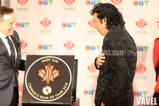 An emotional Andy Kim sees his star on Canada's Walk of Fame for the very first time.