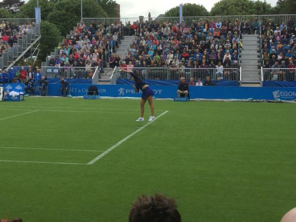Robson serving during yesterday's encounter / Michael Stokoe