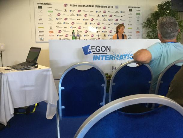 Konta speaking to the press after her victory / Michael Stokoe