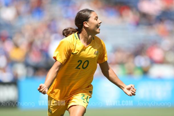 Sam Kerr celebrates at the Tournament of Nations | Source: Jenny Chuang - VAVEL USA