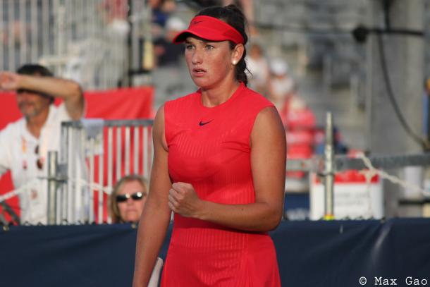 Carson Branstine celebrates after recovering the mini-break while she and Bianca Andreescu trailed 6-8 in the match tiebreak, which later proved crucial for the Canadians in their first-round victory at the 2017 Rogers Cup presented by National Bank. | Photo: Max Gao