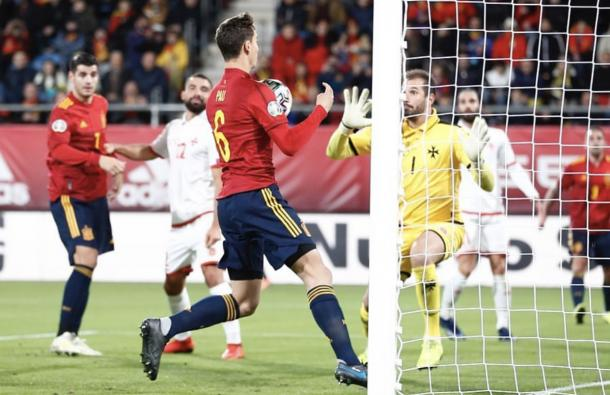 Gol de Pau con la Selección Española / Foto: sefútbol