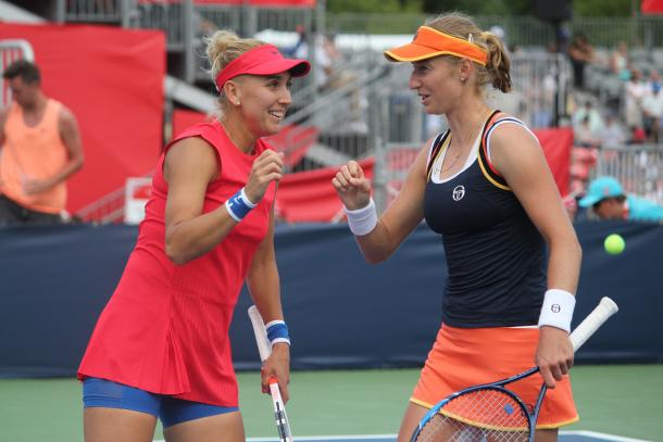 All smiles: Elena Vesnina and Ekaterina Makarova celebrate after winning the first set against Bianca Andreescu and Carson Branstine in the second round of the 2017 Rogers Cup presented by National Bank. | Photo: Max Gao
